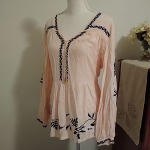 Size S Venus light pink and blue boho tunic top